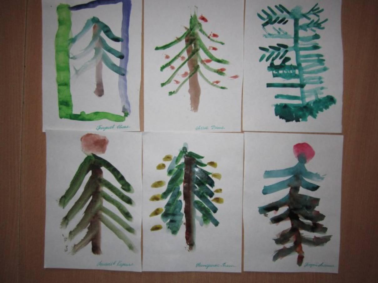 Конспекты по рисованию в 1 младшей группе елочка