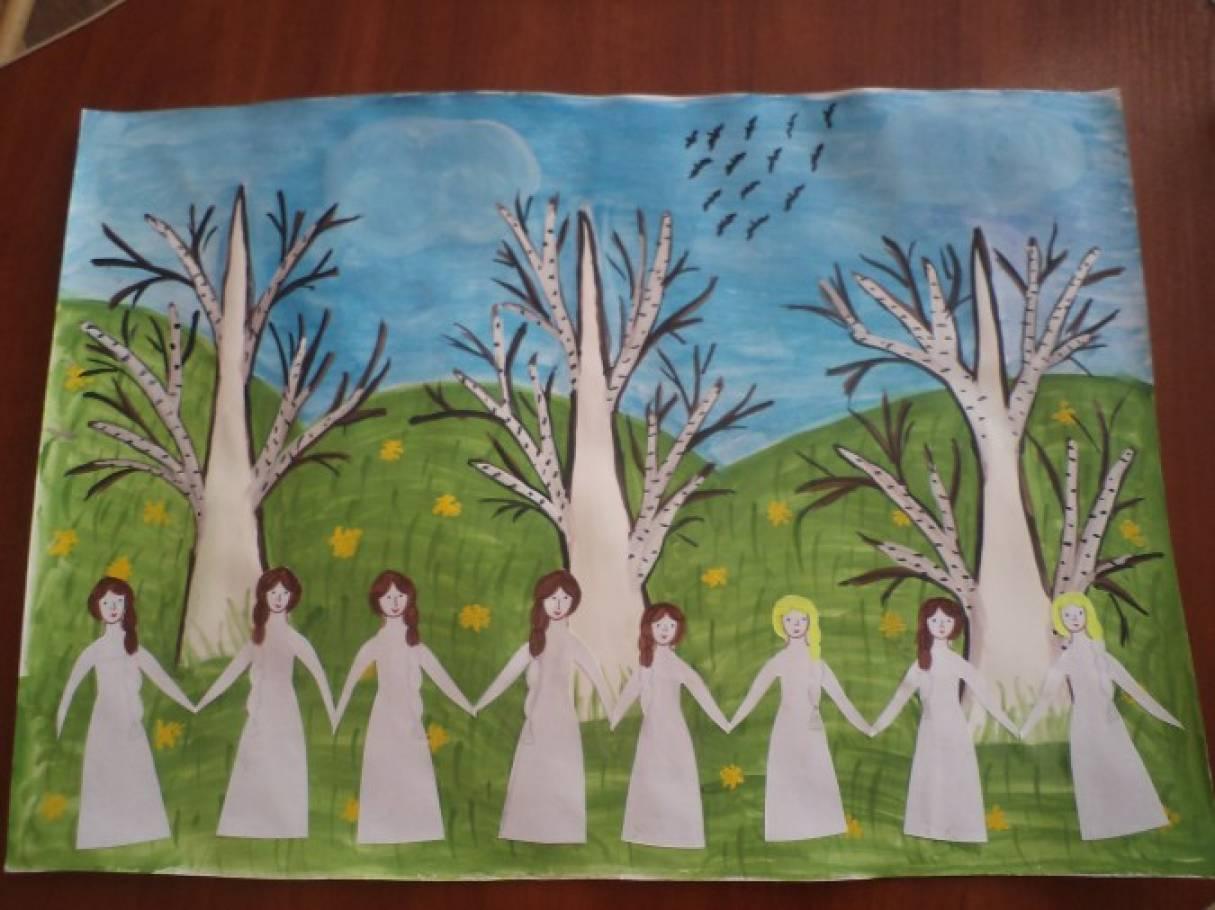 Коллективная работа «Во поле берёзки стояли» (средняя группа)