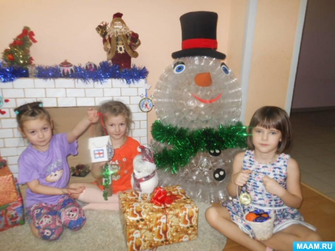 Снеговик из пластиковых стаканчиков своими руками.