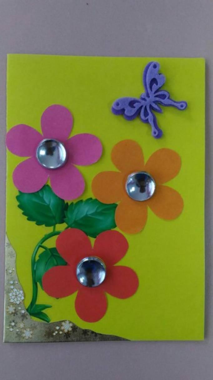 Открытое занятие по аппликации открытка для мамы, поздравления открытки