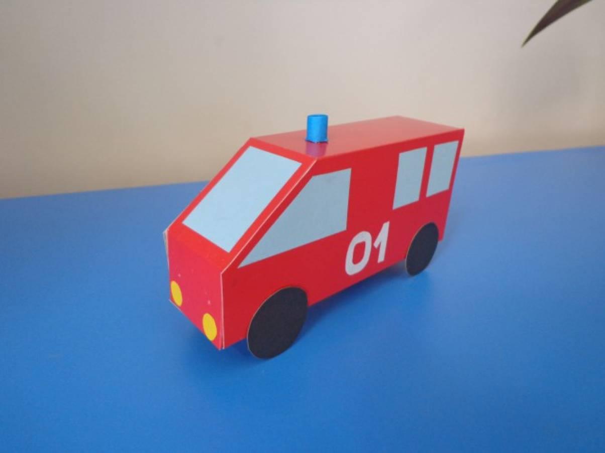 Мастер-класс по конструированию из картона «Пожарная машина»