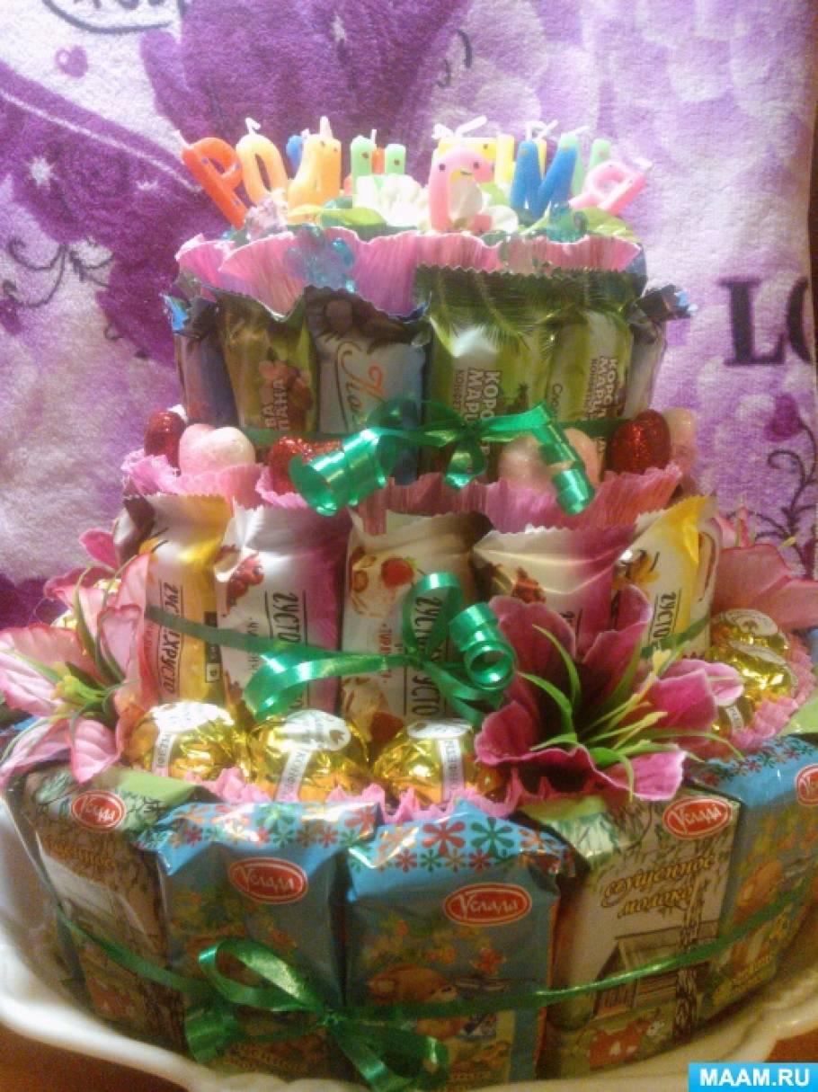 Тортик из конфет «С днем рождения»— мастер-класс