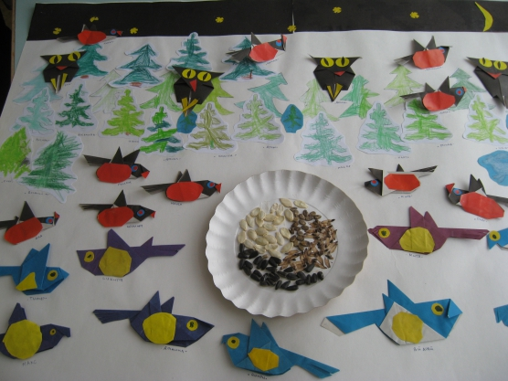 """Мастер-класс. Оригами. """"Снегирям я дам в ладошке крошек, семечек немножко"""". Воспитателям детских садов, школьным учителям и педа"""