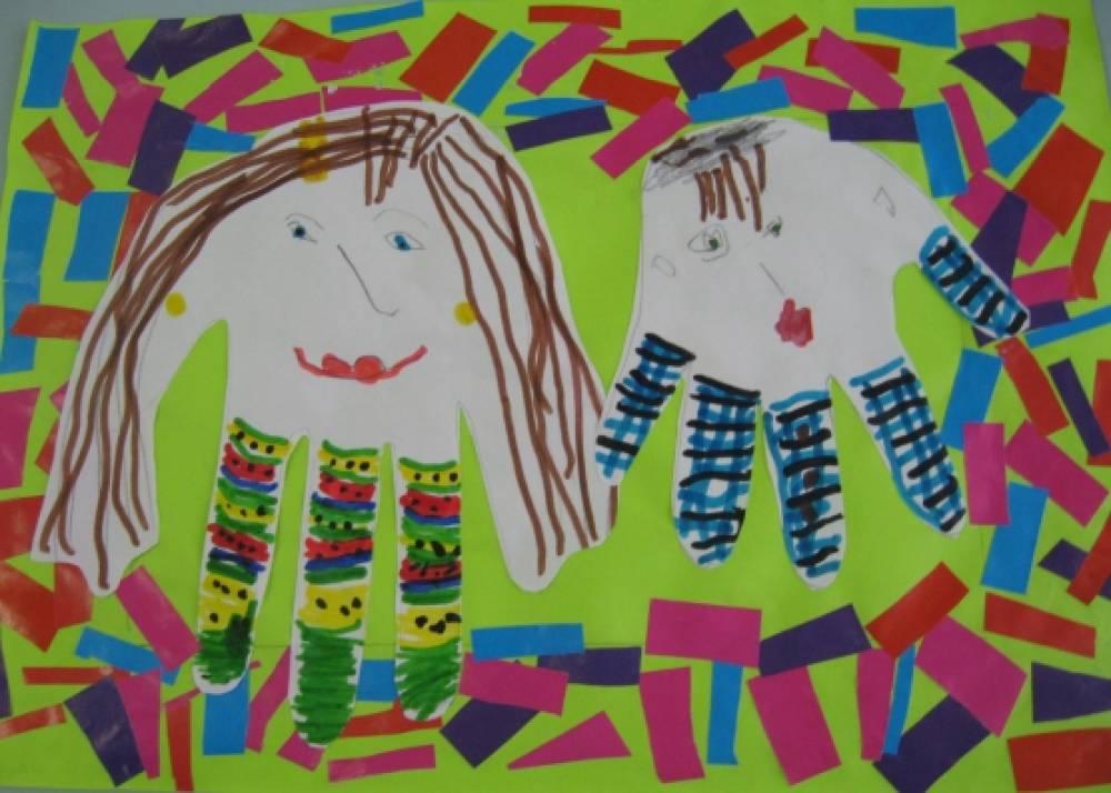 Мастер-класс: открытка — коллаж из ладошек к 8 Марта «Мама, будь всегда со мною рядом!»
