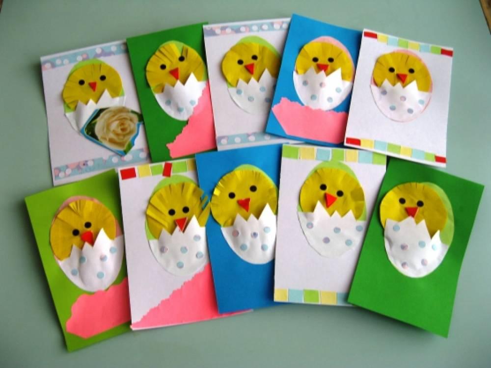 Маленькая пасхальная открытка «Яркие пушистые желтые комочки». Мастер-класс