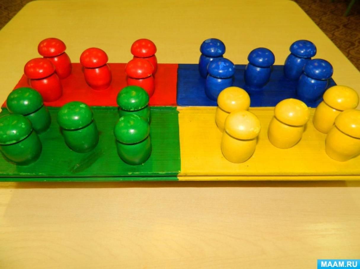 Дидактическая игра по сенсорному развитию детей раннего возраста «Грибочки на полянках»