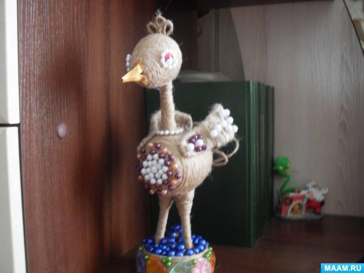 Мастер-класс поделки из шпагата с использованием бросового материала «Журавушка»