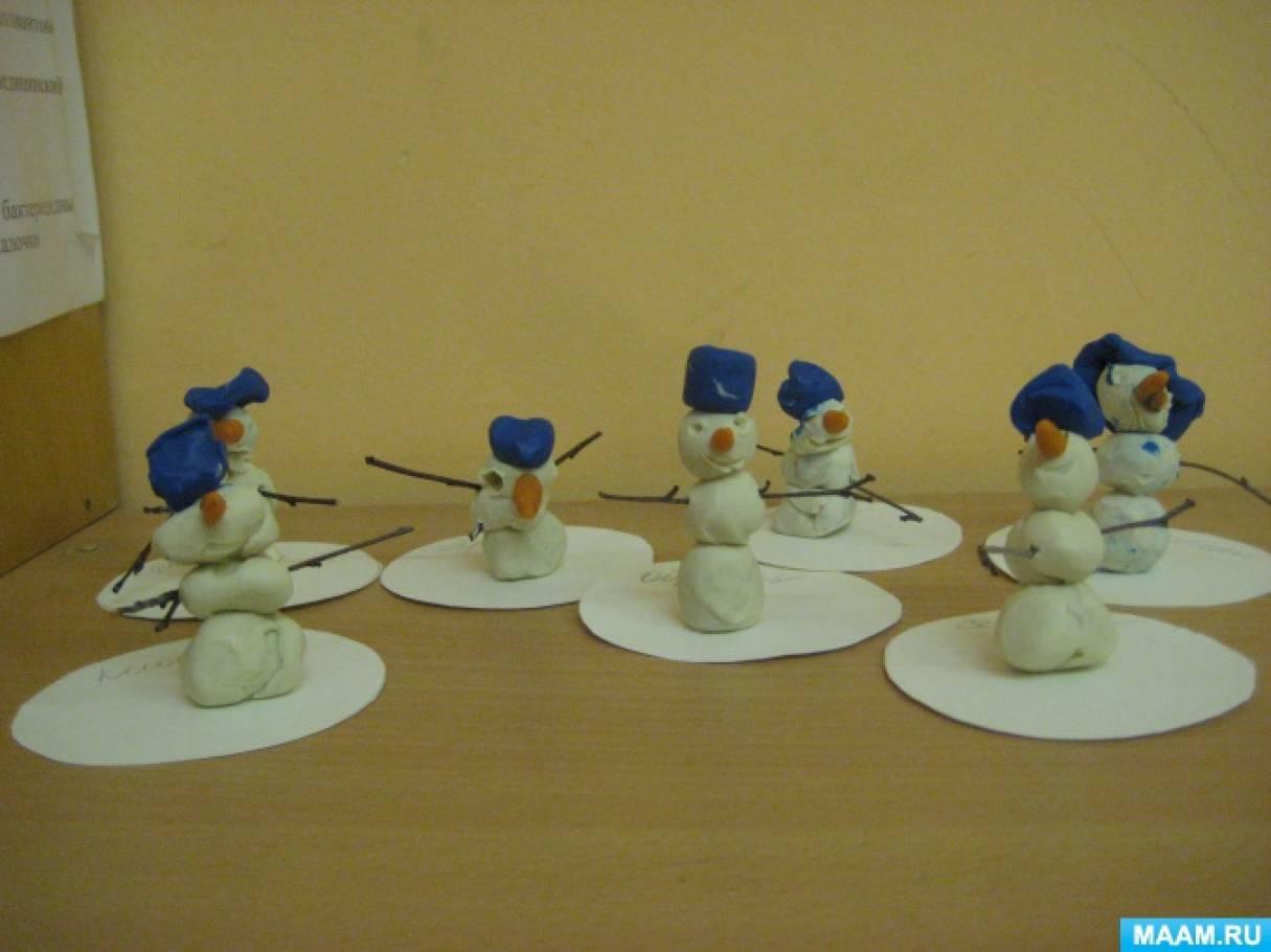 Конспект занятия по лепке в старшей группе снеговик