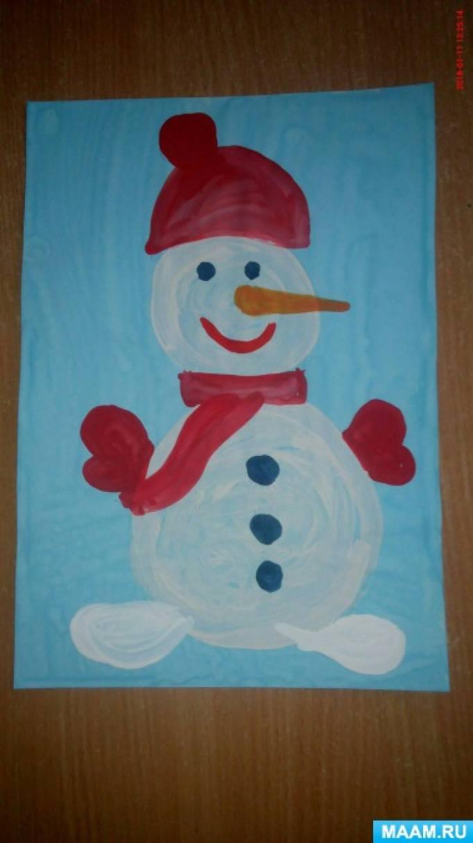 Мастер-класс. Пошаговое рисование Снеговика с шапочкой и шарфиком