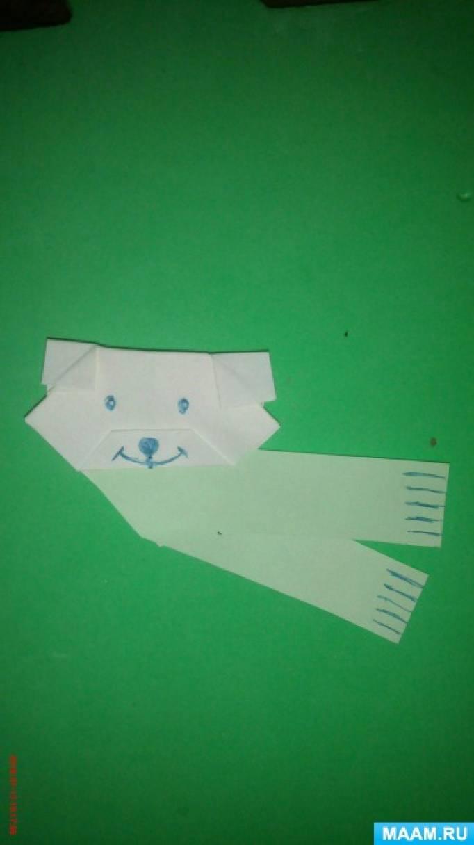 Мастер-класс пошагового изготовления оригами «Мишутка в зеленом шарфике»