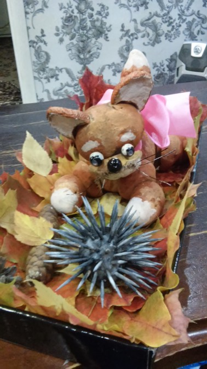 «Осенняя прогулка котёнка». Поделка к конкурсу «Дары осени»