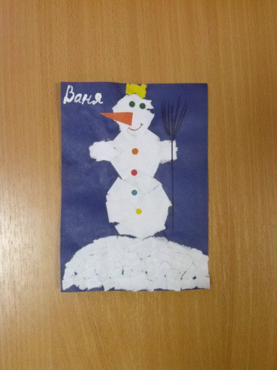 Как сделать аппликацию снеговика из бумаги 164