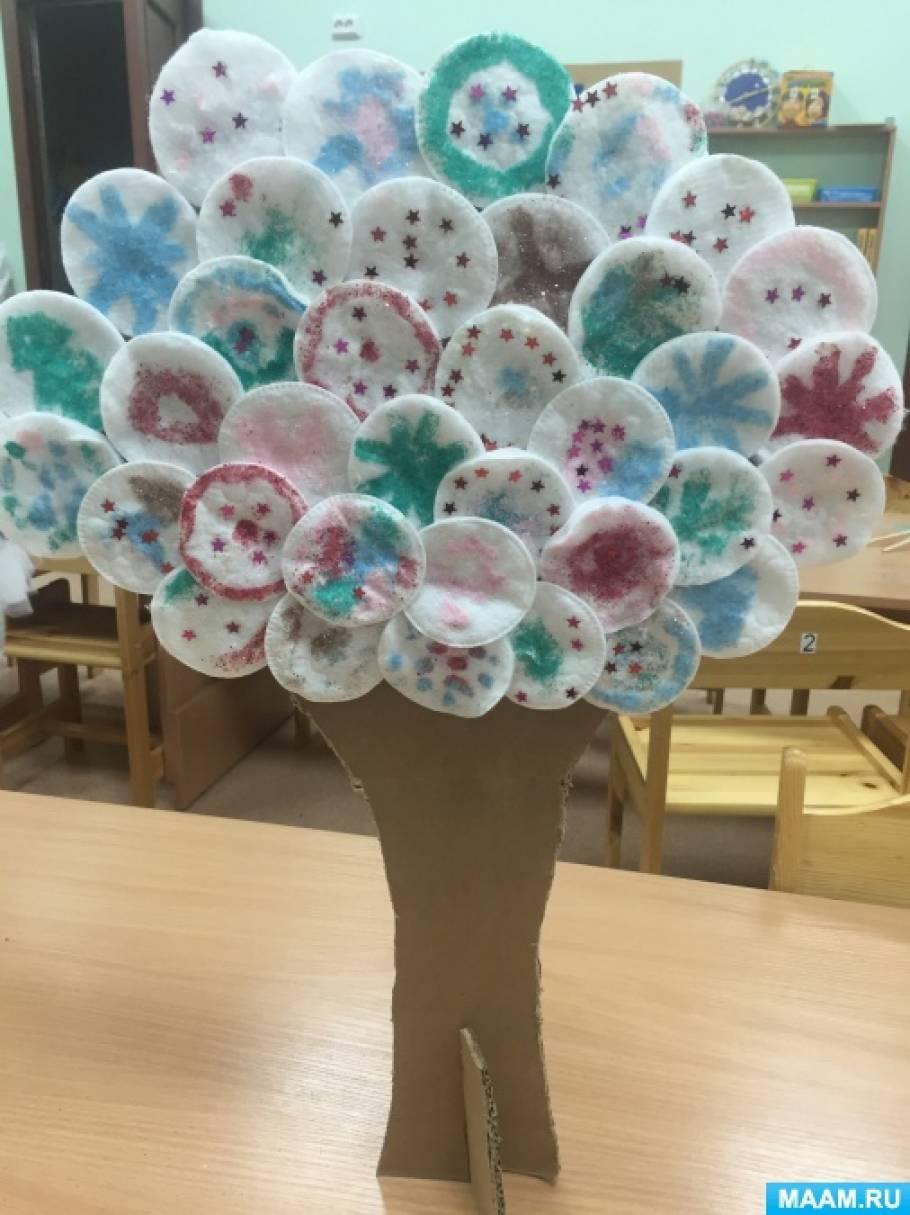 Дерево из дисков ватных своими руками