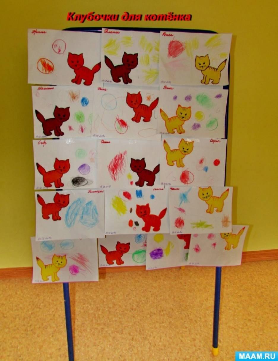 Фотоотчет о занятии по рисованию «Клубочки для котенка»