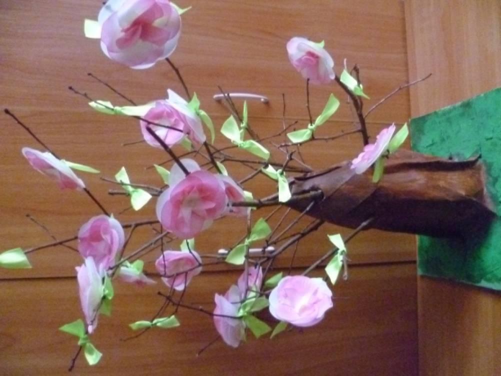«Чудо-дерево» мастер-класс изготовления цветов из атласных лент.