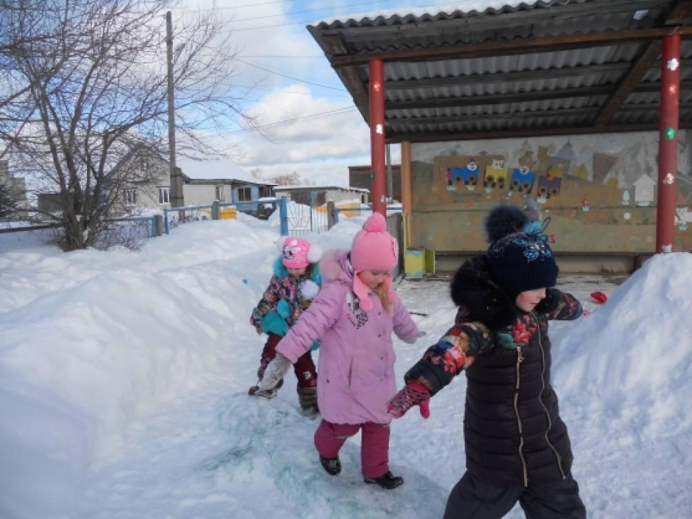 Прогулка в средней группе «По следа зимы»