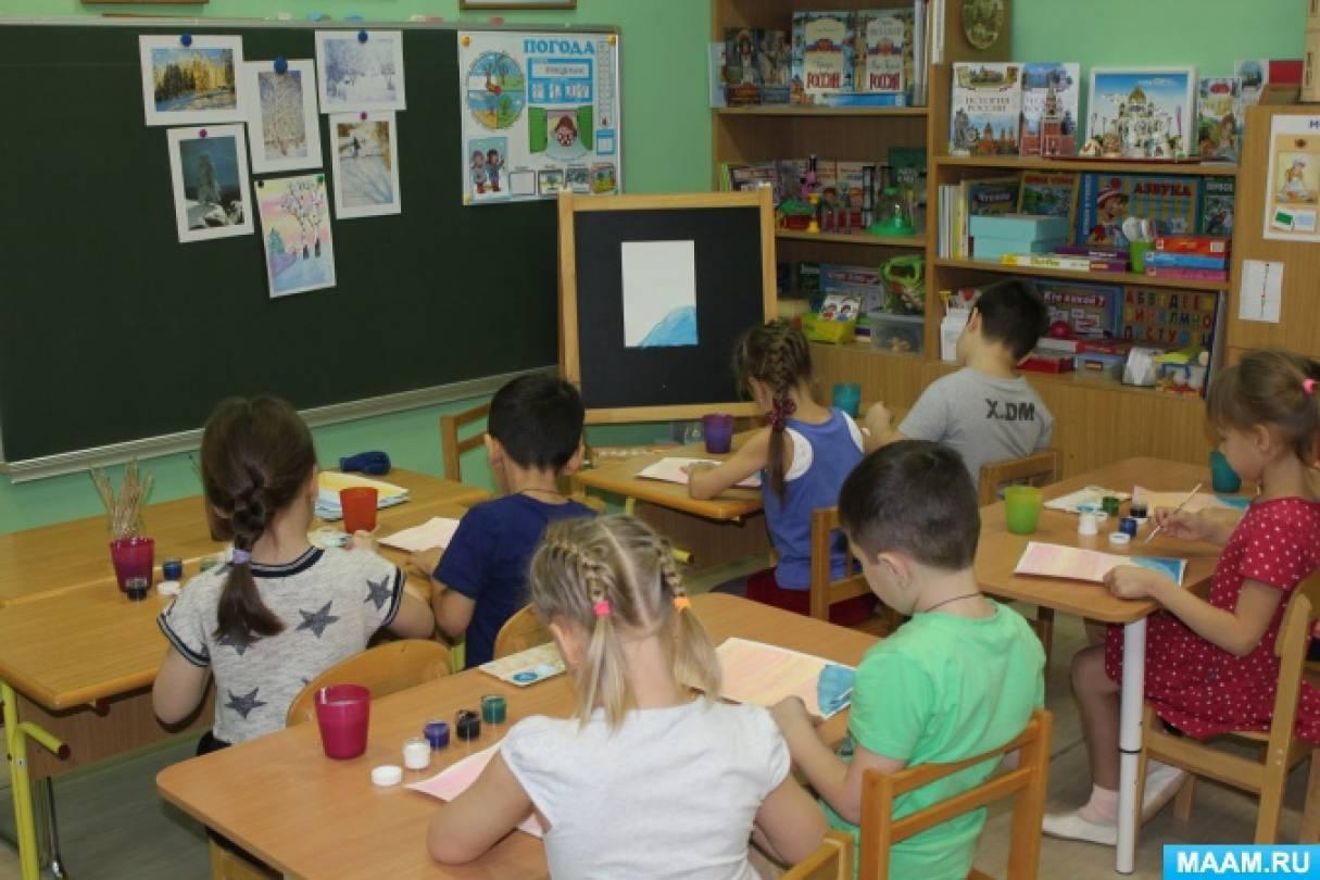 Конспект НОД по рисованию в подготовительной к школе группе «Зимнее утро»