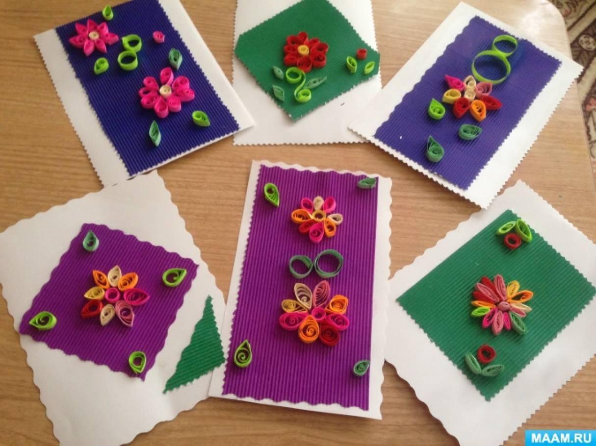 Изготовление открытки в технике квиллинг «Цветы в подарок маме»