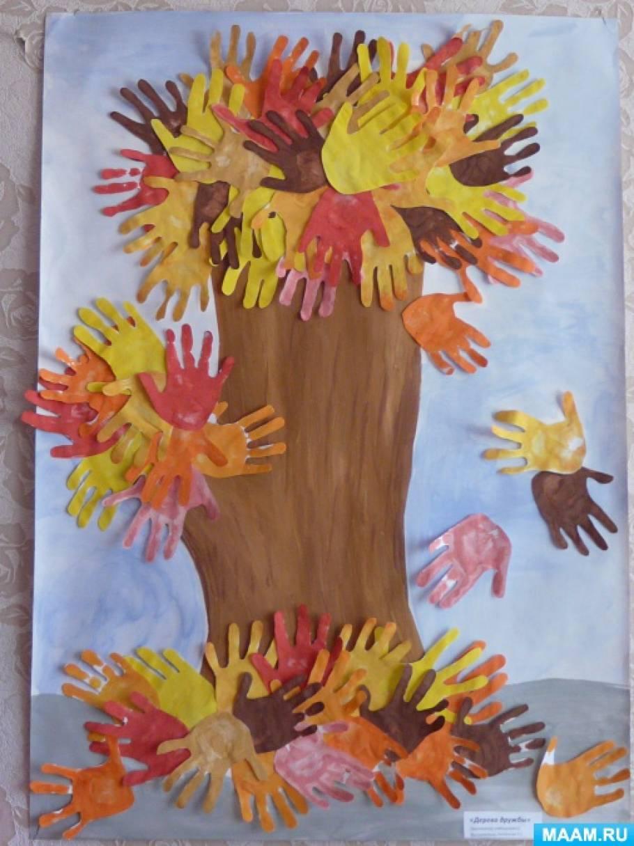 Дерево из ладошек своими руками 29