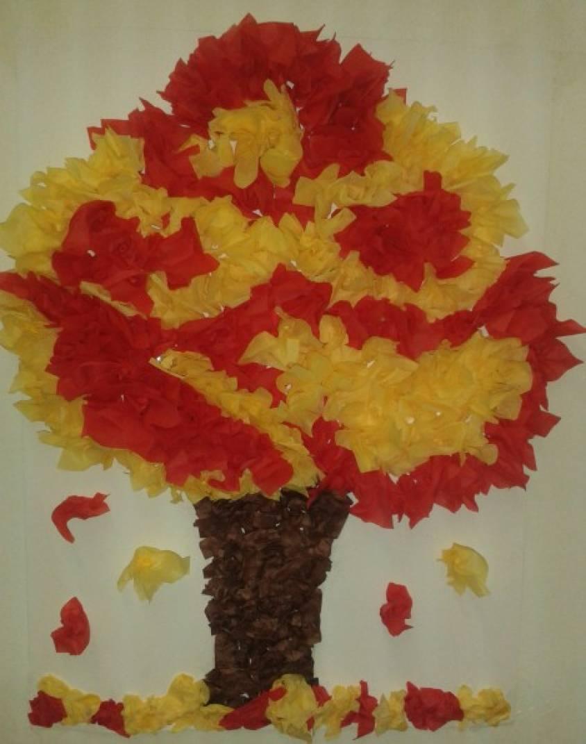 Картина из салфеток своими руками золотая осень 25
