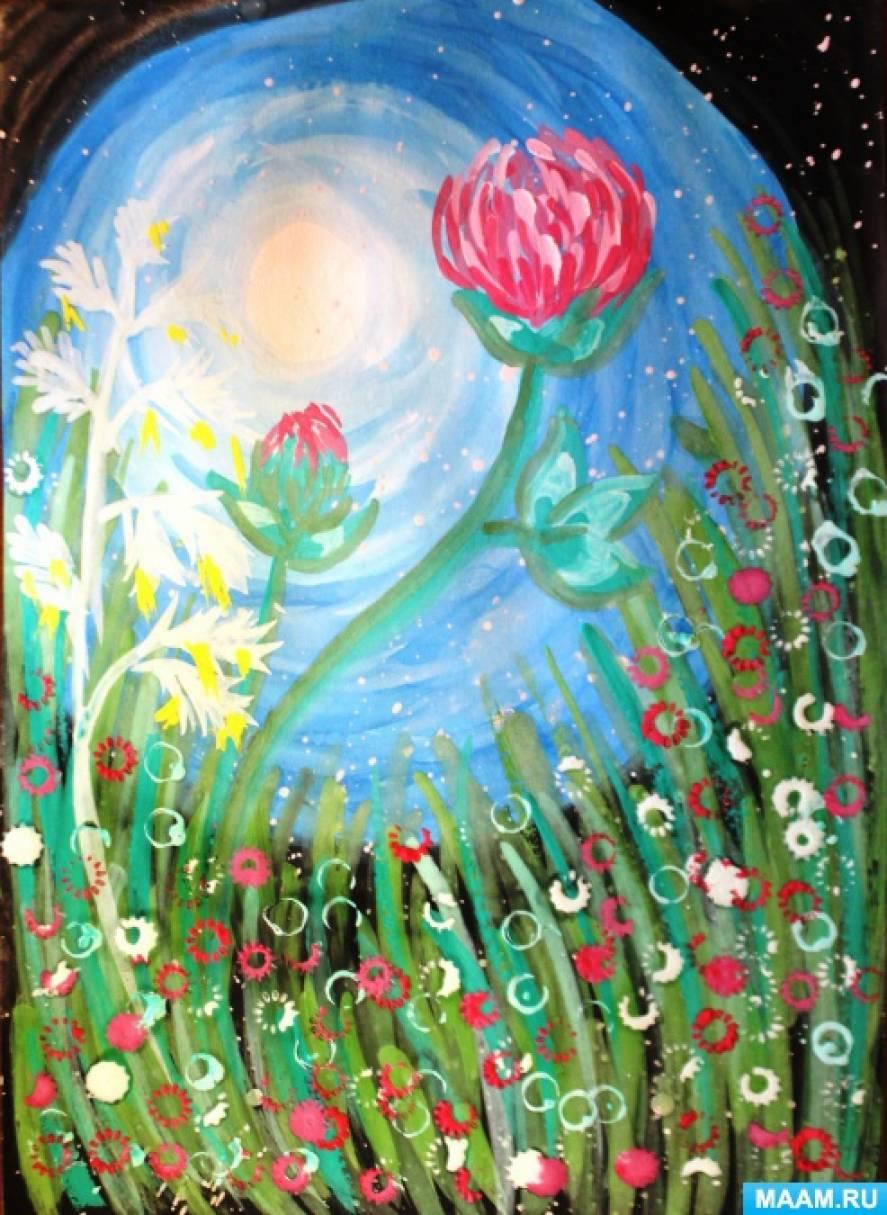 «Цветущий луг в лунном сиянии». Мастер-класс по рисованию с применением нетрадиционных техник:...