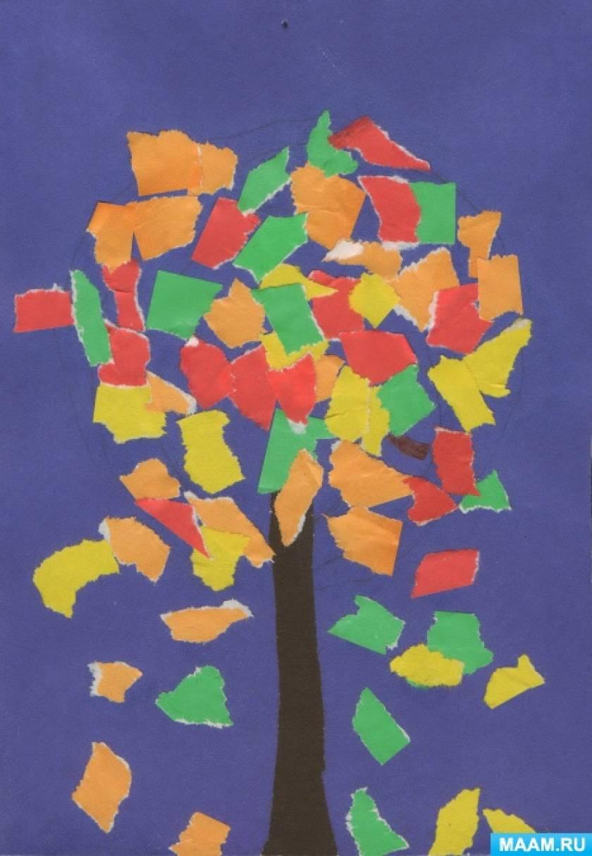 Конспект НОД по художественно-эстетическому развитию «Обрывная аппликация «Осеннее дерево» для второй младшей группы