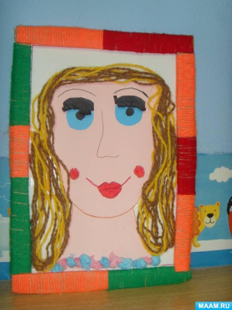Конспект занятия по аппликации в старшей группе «Портрет моей мамы» (из ниток)