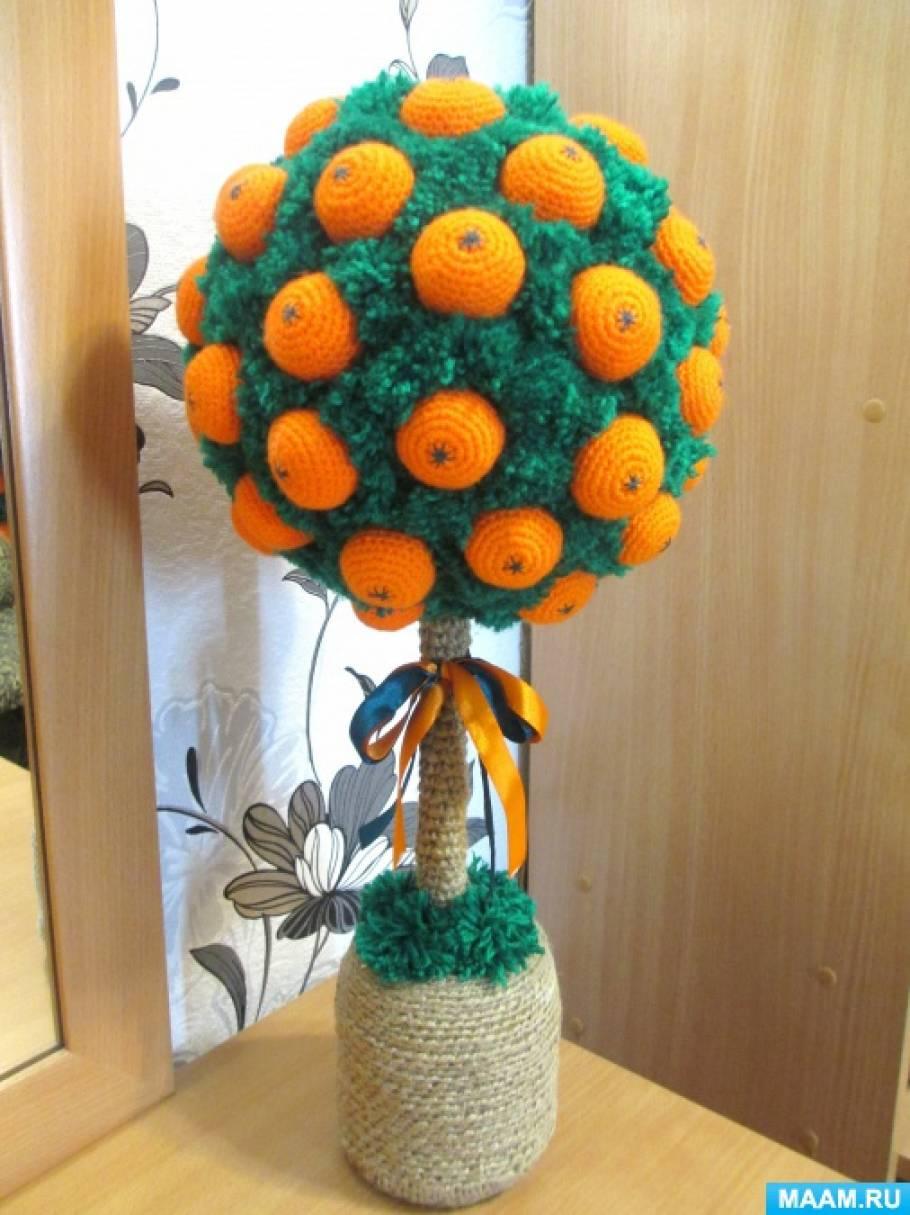 Новогодний топиарий «Мандариновое дерево». Мастер-класс