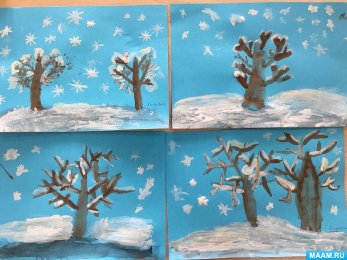 Конспект по рисованию для старшей группы зима
