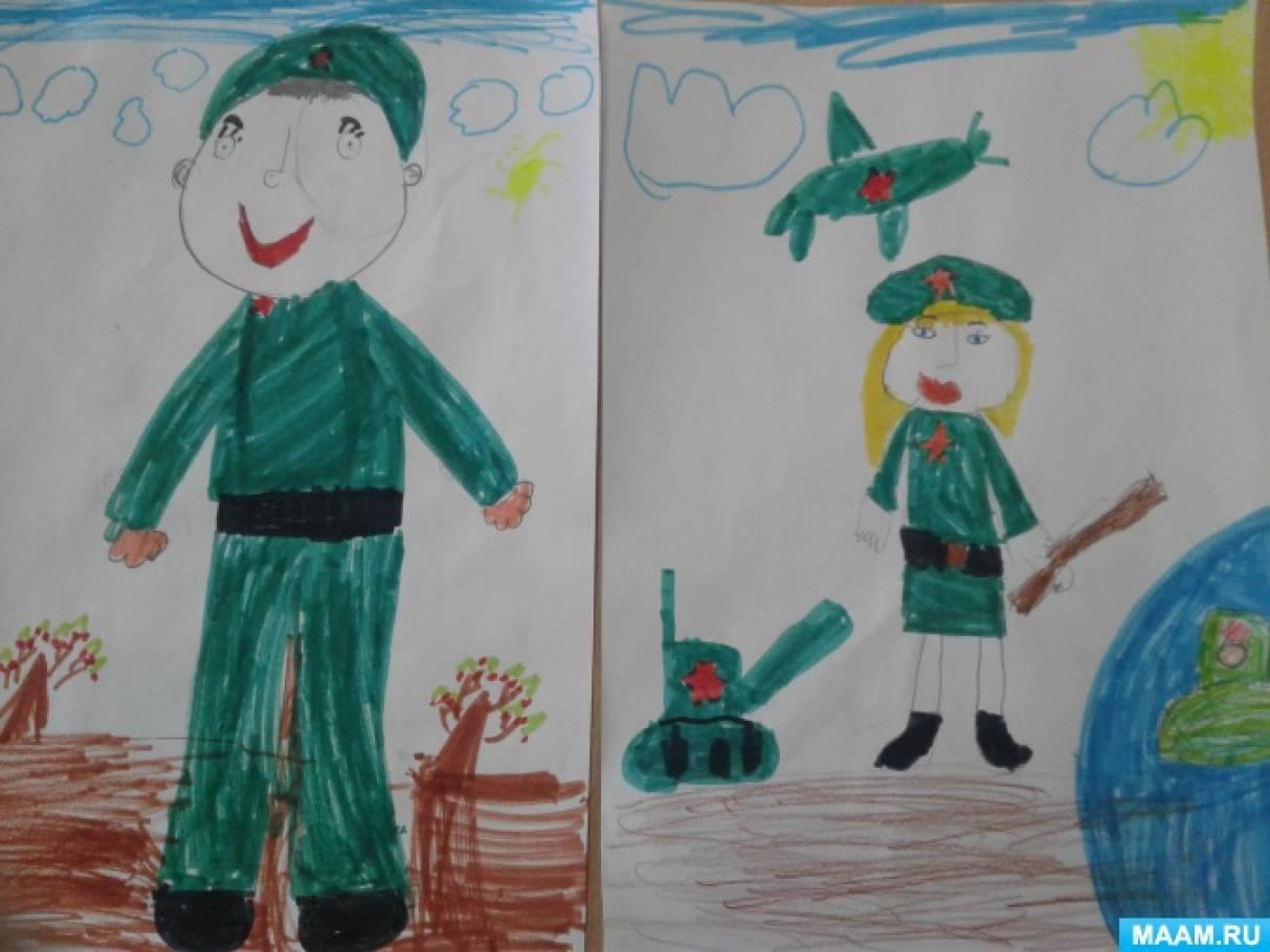 Конспект занятия по рисованию «Защитники Отечества» в старшей группе