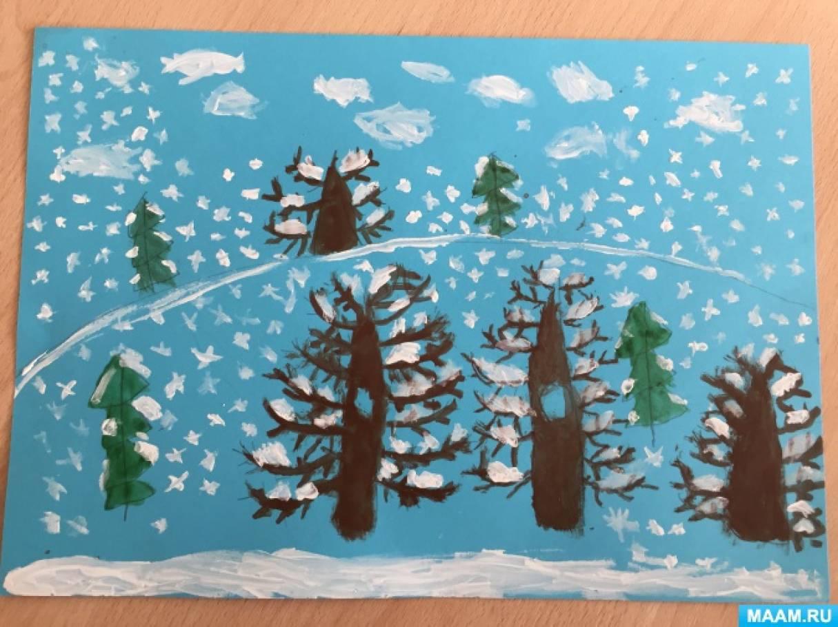 Конспект занятия по рисованию в подготовительной группе «Зимний лес»