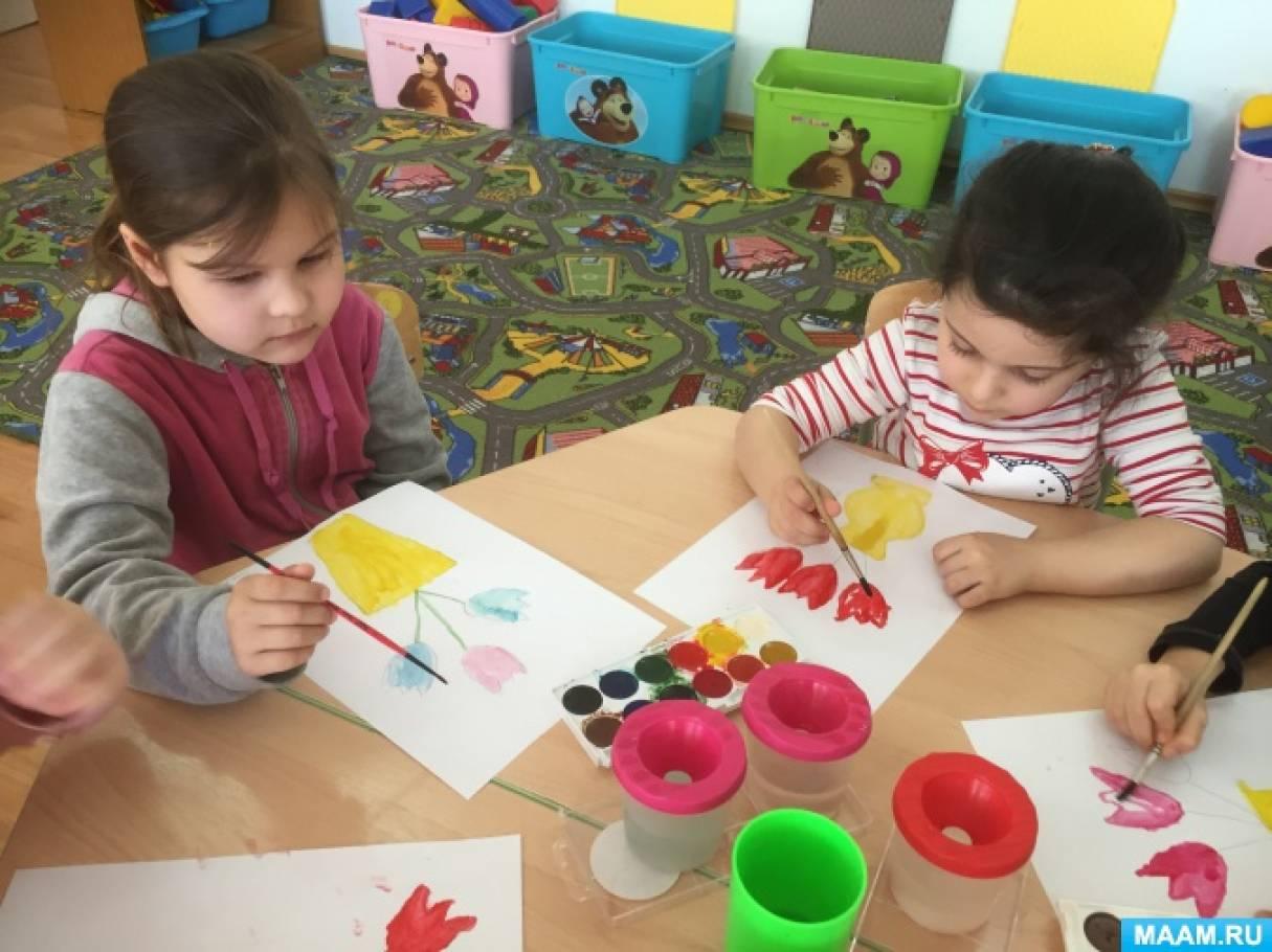 Конспект занятия по рисованию в старшей группе «Вазочка с цветами для любимой мамочки»