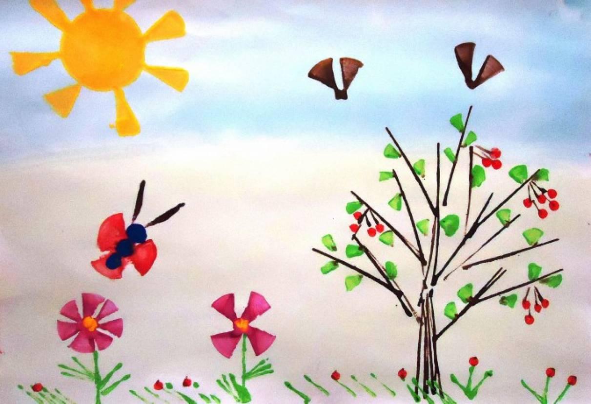 «Краски лета». Рисование картоном с детьми 5–7 лет. Мастер-класс