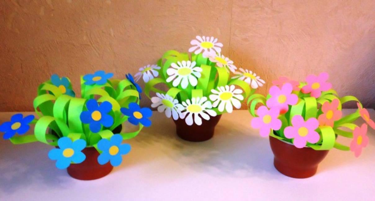 Букет цветов из бумаги своими руками для детей 49