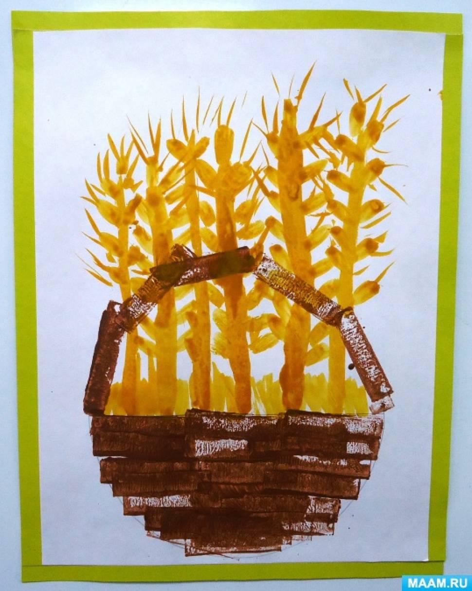 «Корзинка с колосками». Нетрадиционный метод рисования — отпечатки спичечным коробком. Детский мастер-класс
