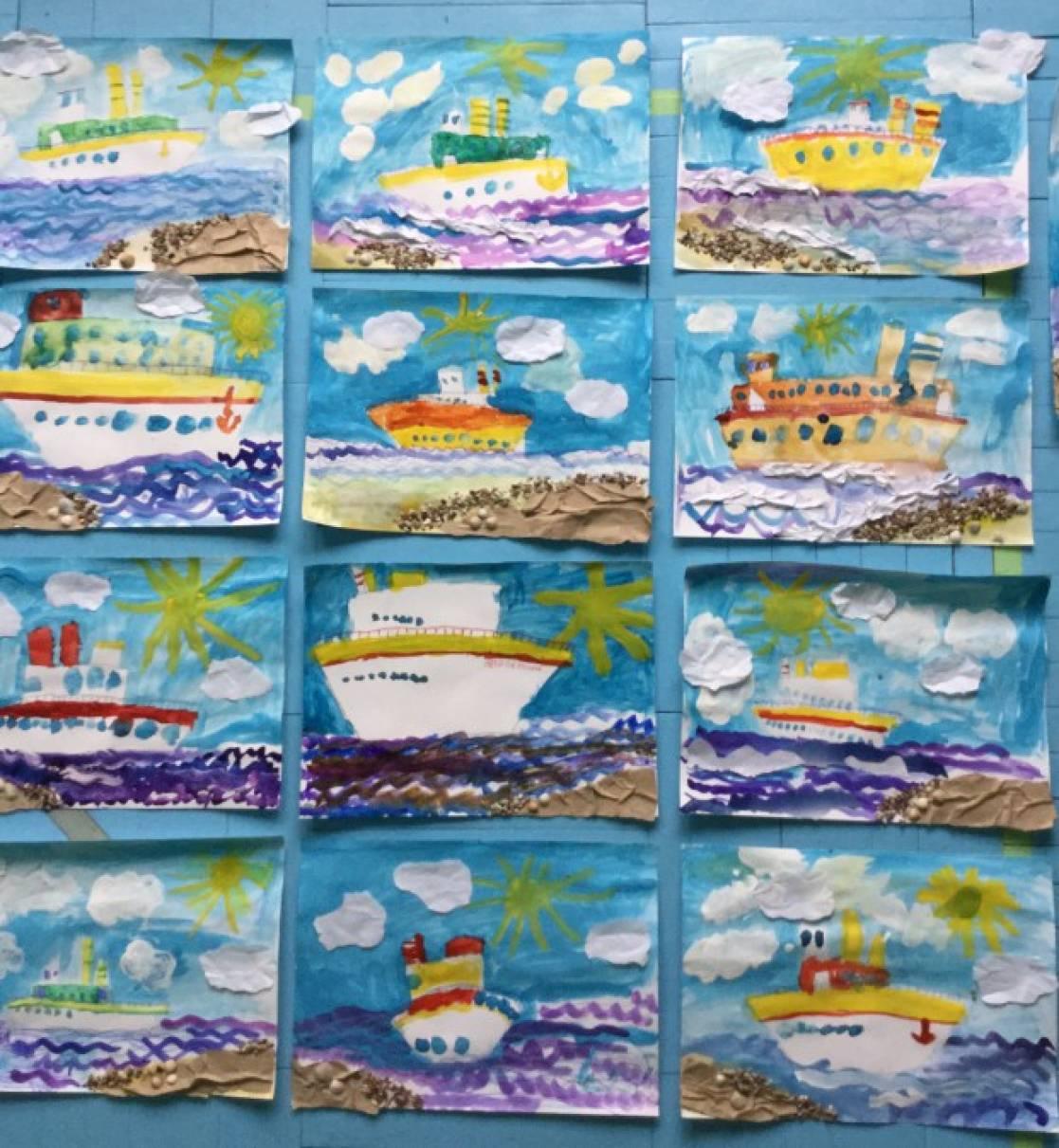 «Корабли уходят в море». Рисование с элементами аппликации (старшая группа)