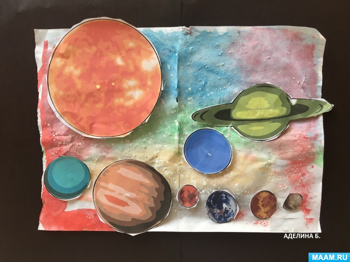 Рисование с элементами аппликации «Солнечная система. Космос» (старший дошкольный возраст)