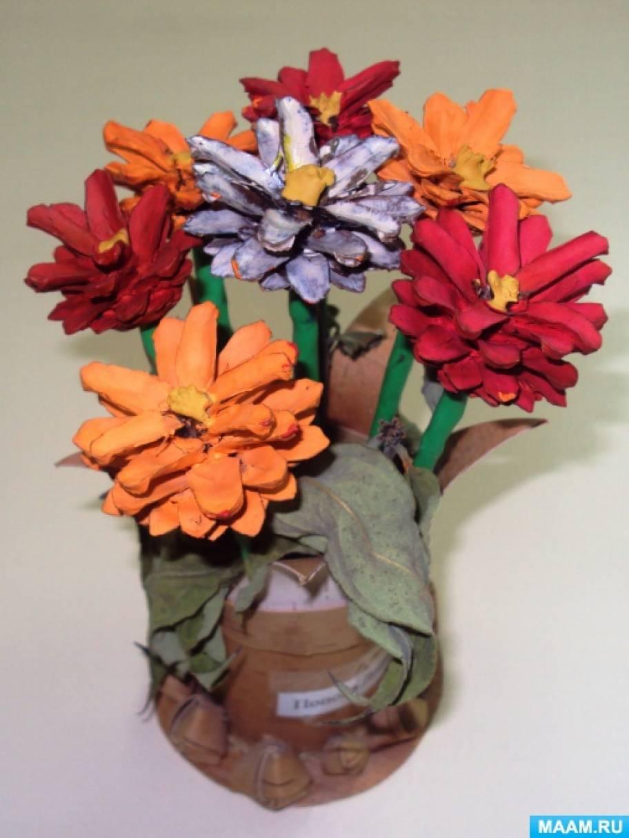 Как сделать поделку цветы из природных материалов 78