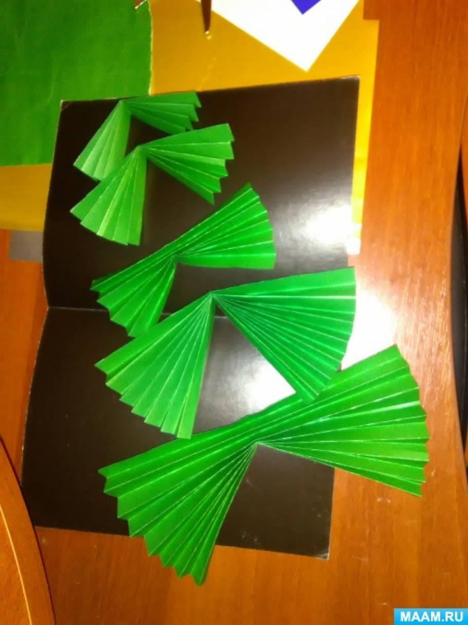 как сделать открытку елка гармошка ирландец