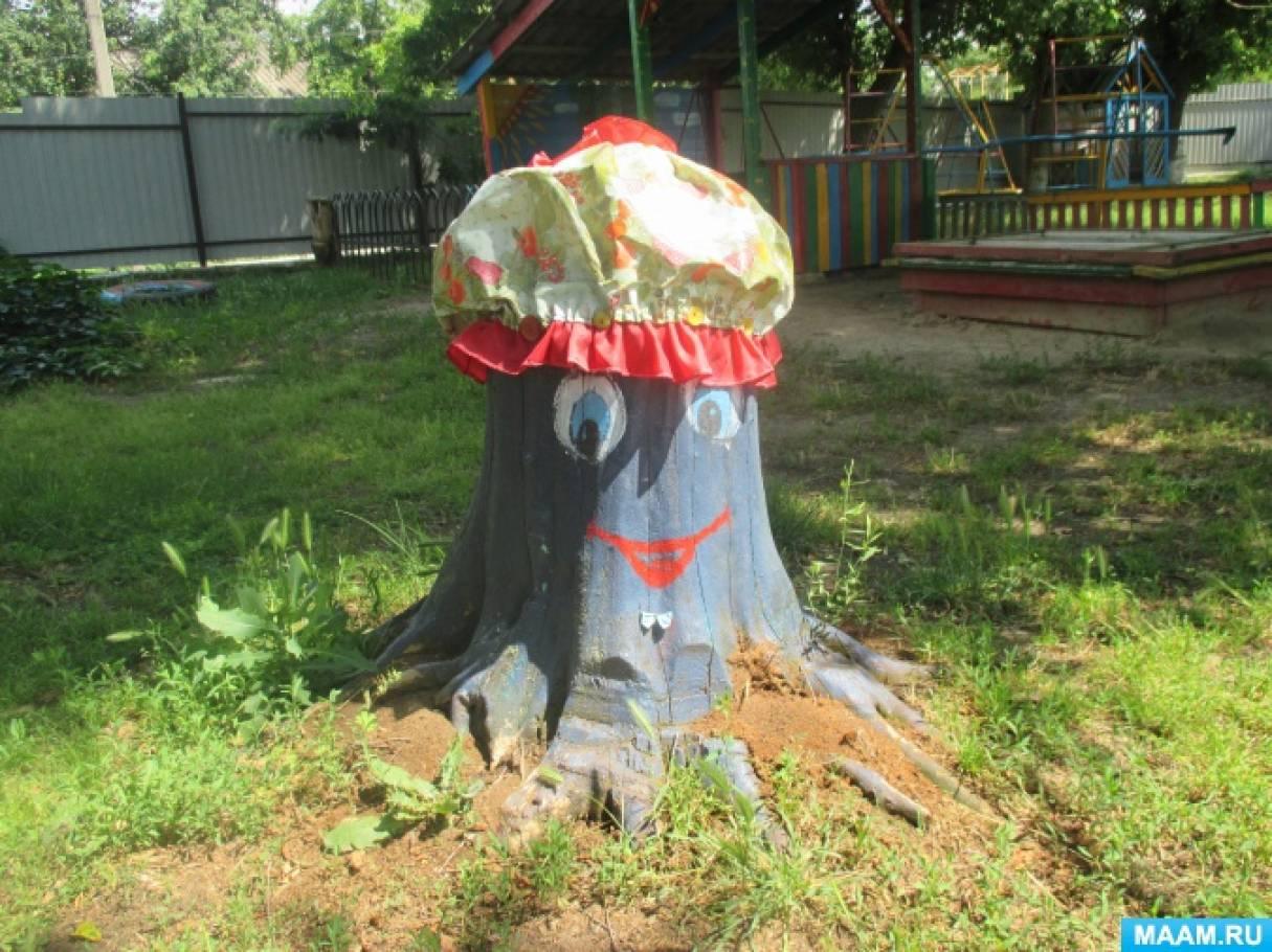 Декорирование пня на участке «Головоногая осьминожка»