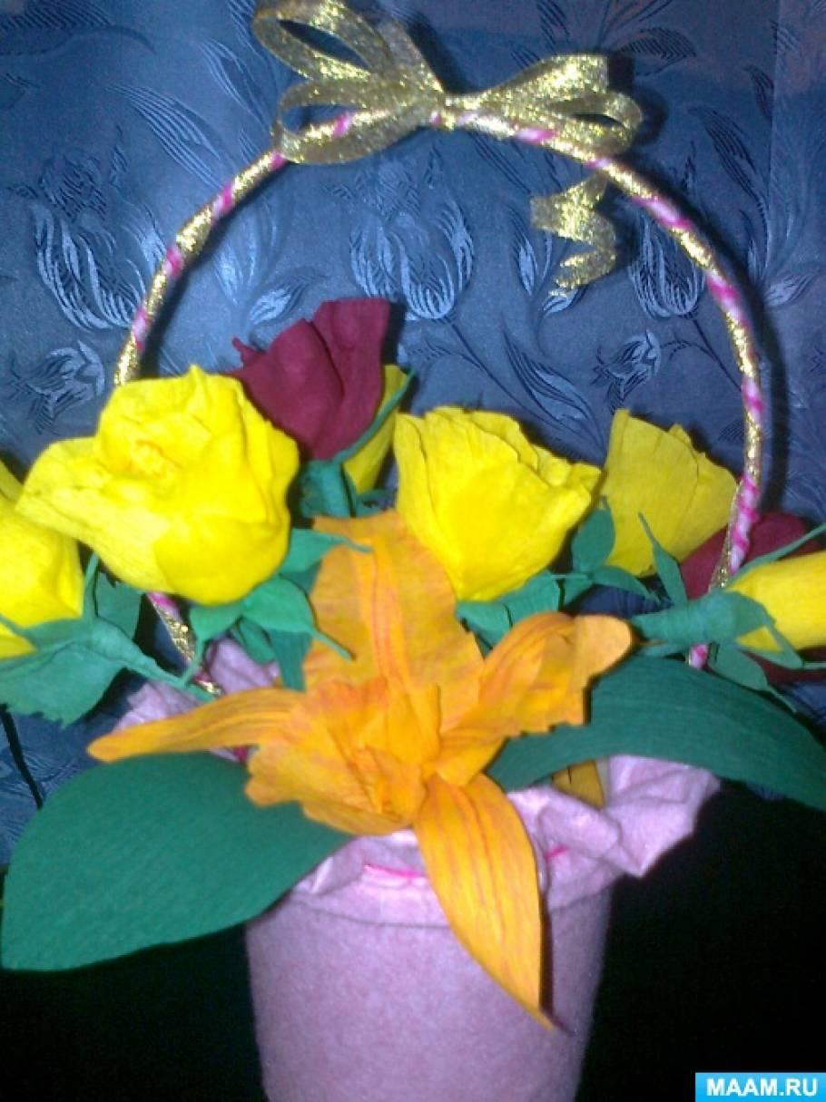 Мое увлечение— цветы из гофрированной бумаги.