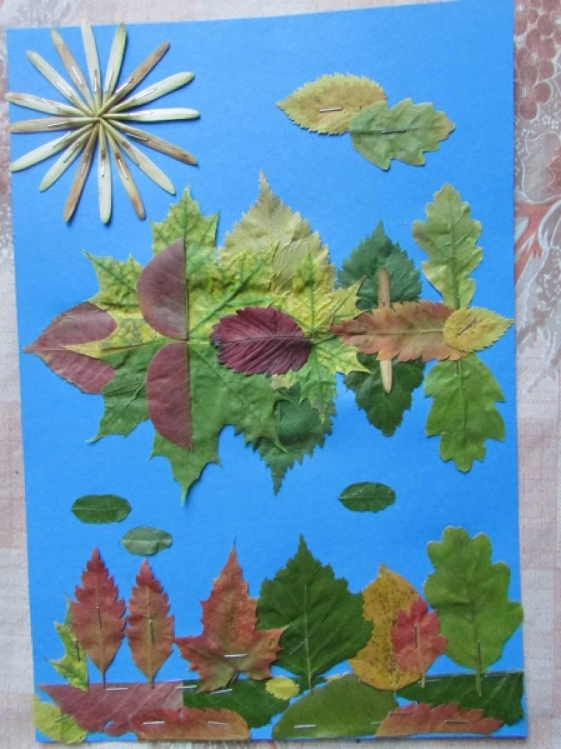 Аппликация из сухих листьев «Осенние картины»