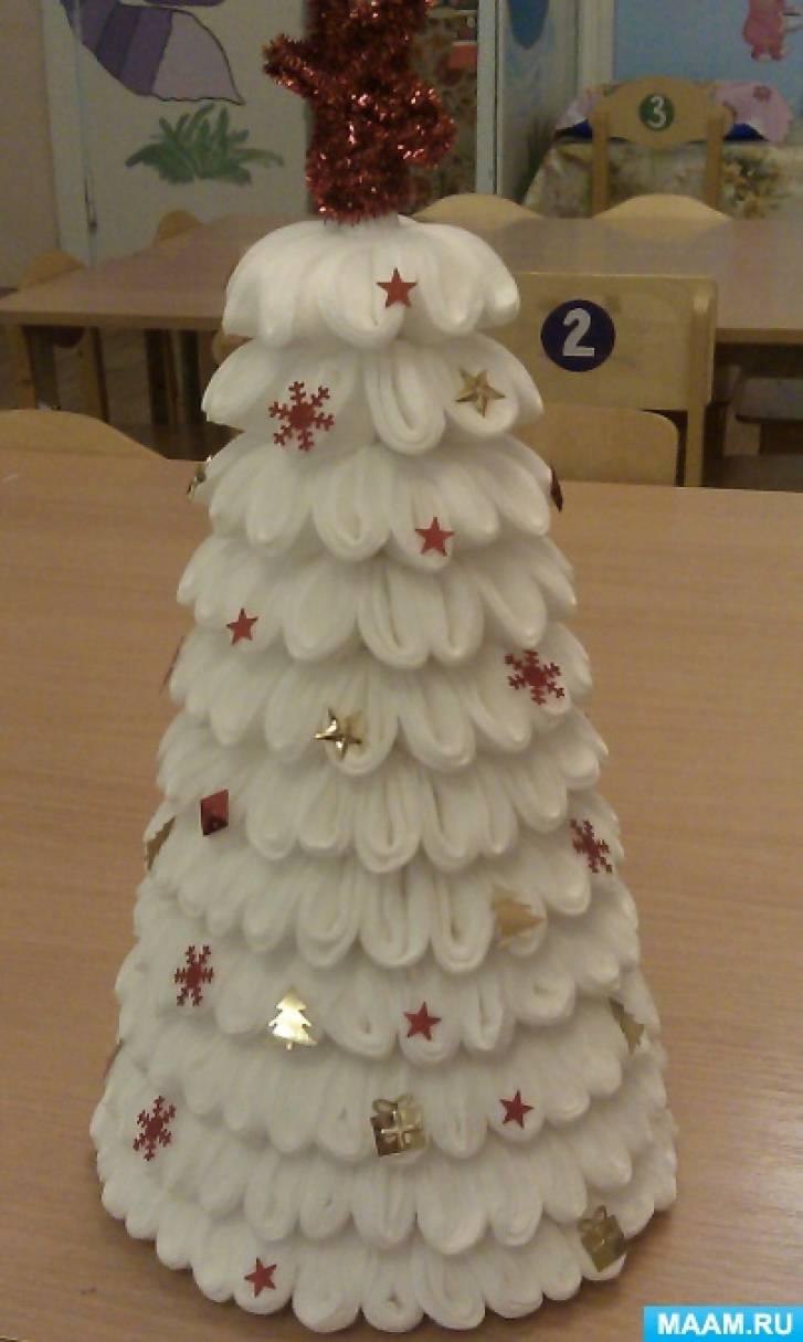 Новогодняя елка из ватных дисков своими руками