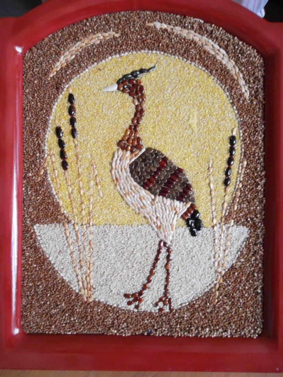 поделка из зерна птица пока так много