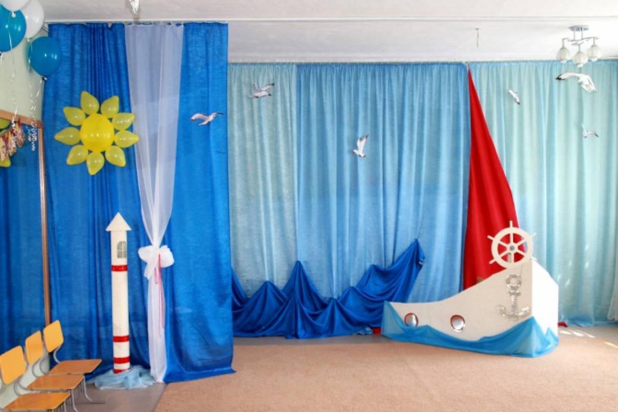 Оформление музыкального зала к выпускному празднику «Алые паруса»