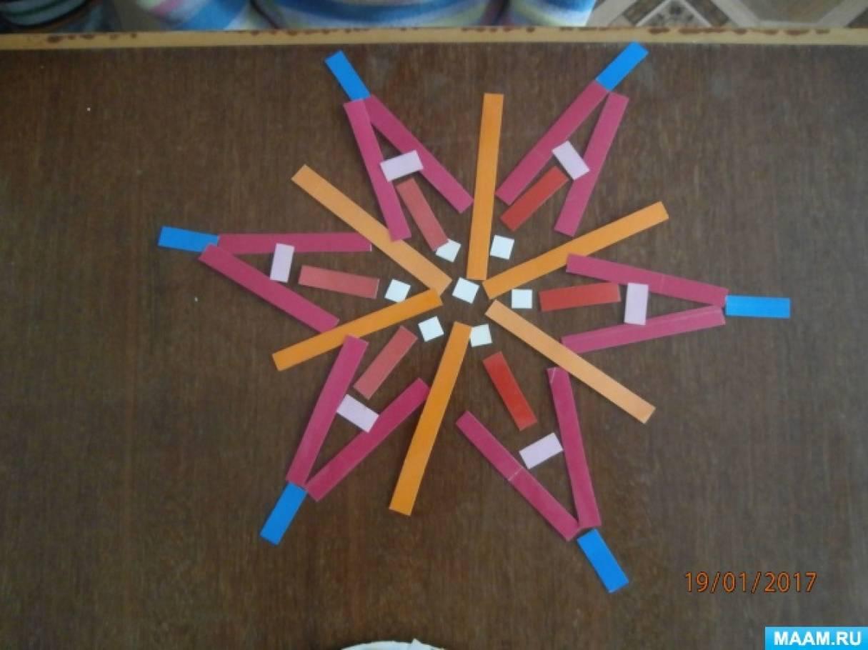 Конструирование снежинок из разного материала в группе оздоровительной направленности