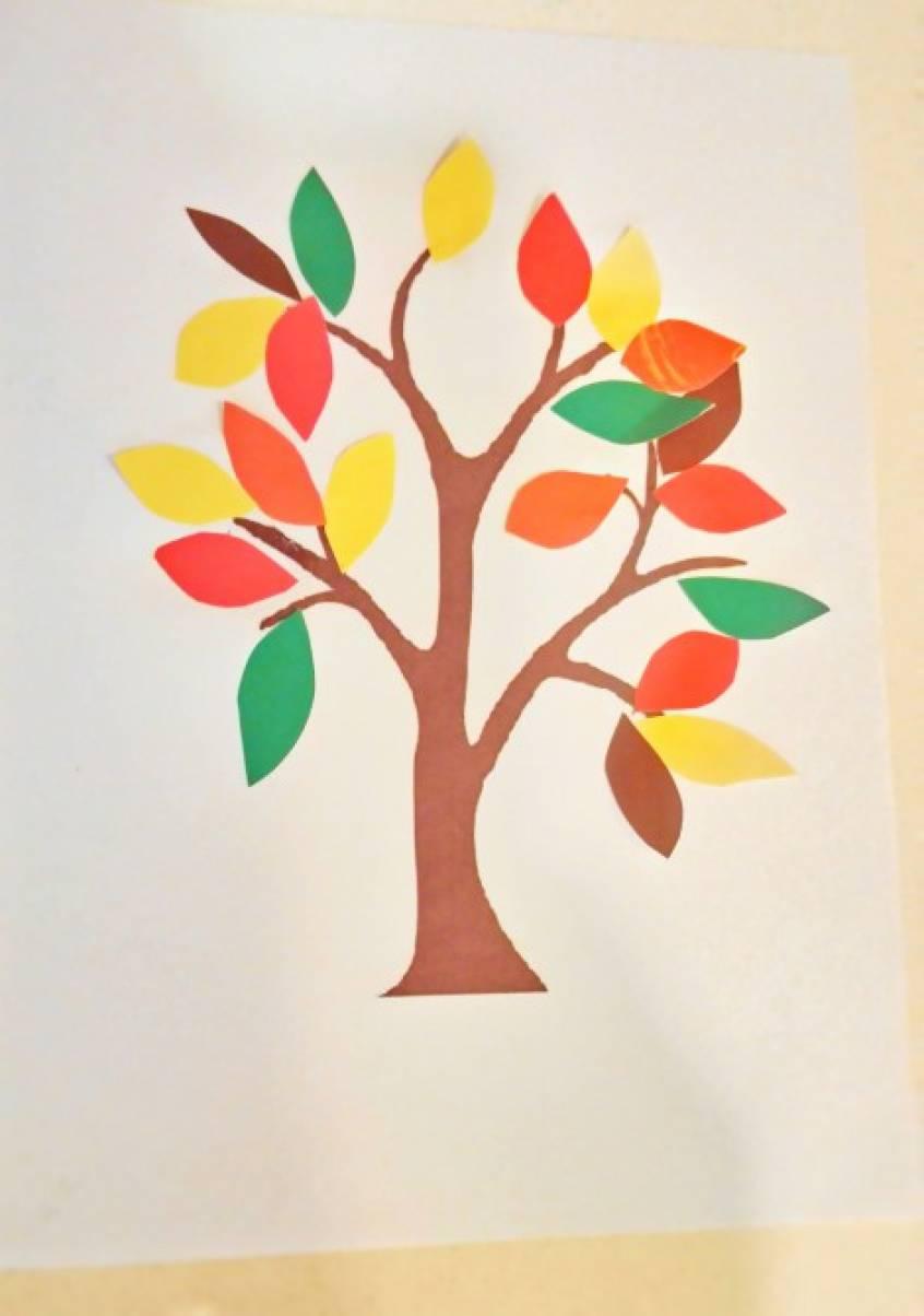 Изготовление аппликации «Осеннее дерево»