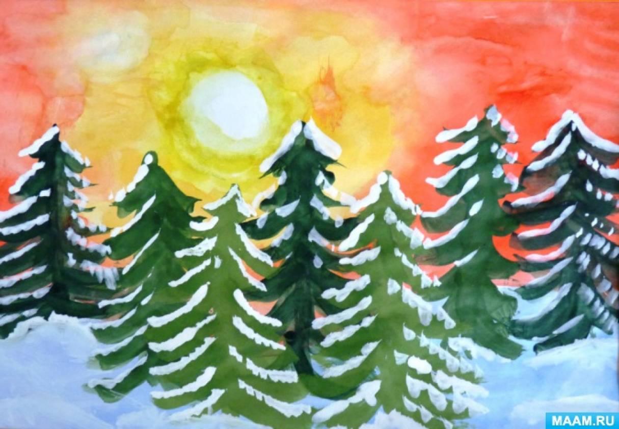 Мастер-класс «Разноцветная зима». Учимся рисовать пейзаж