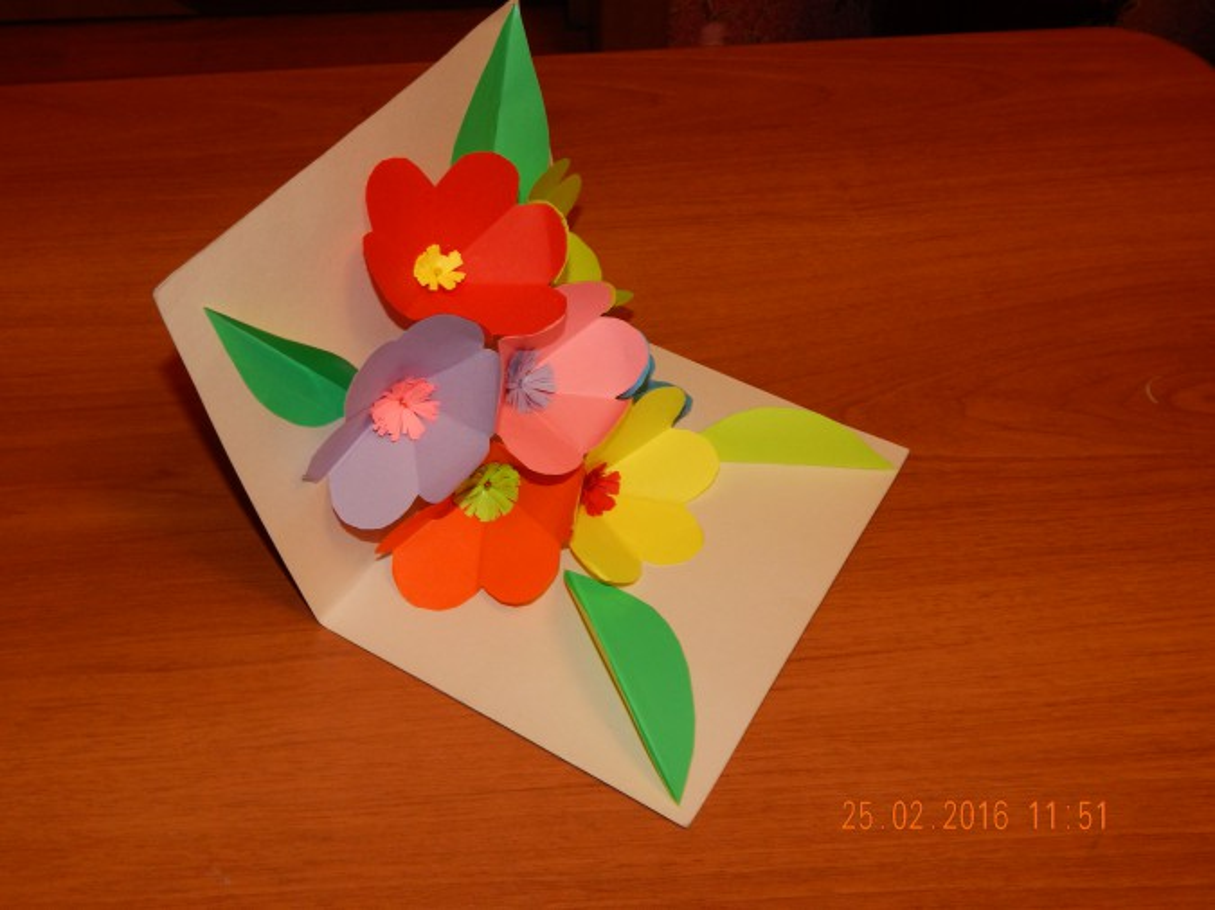 Объемная открытка с цветами внутри Открытки 23