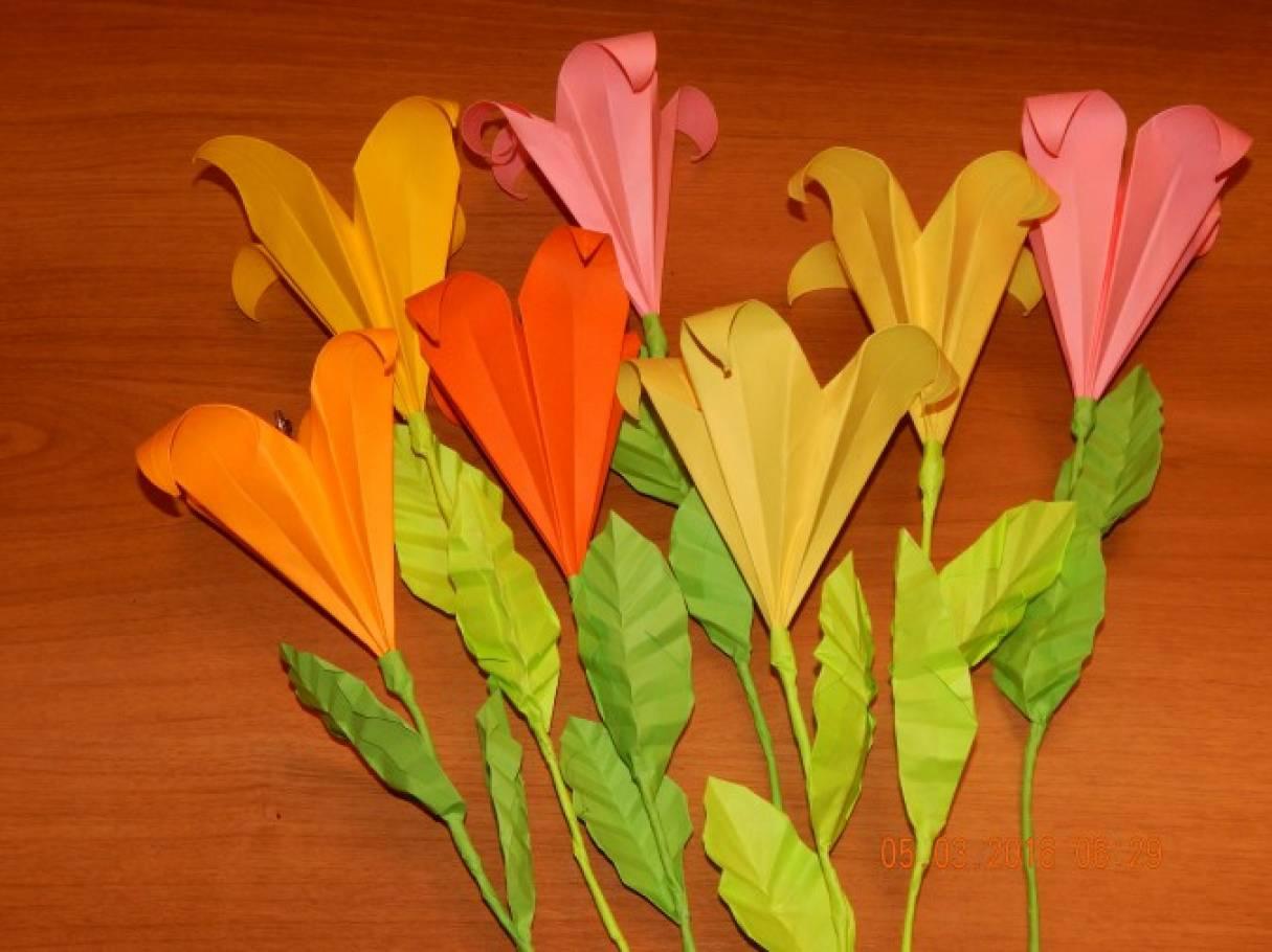 Цветок лилии из бумаги в технике оригами— мастер-класс